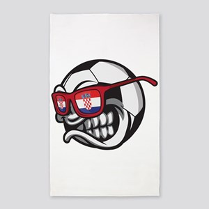 Croatia Angry Soccer Ball with Sunglasses Area Rug