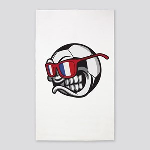 Angry France Soccer Ball with Sunglasses Area Rug