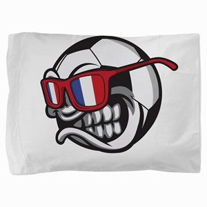 Angry France Soccer Ball with Sunglass Pillow Sham