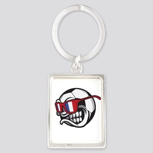 Angry France Soccer Ball with Sunglasses Keychains