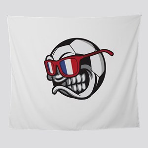 Angry France Soccer Ball with Sungla Wall Tapestry