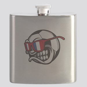 Angry France Soccer Ball with Sunglasses Fre Flask