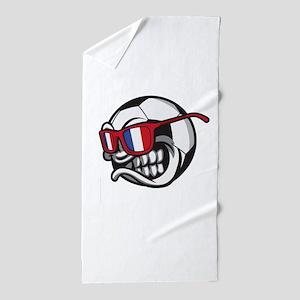 Angry France Soccer Ball with Sunglass Beach Towel