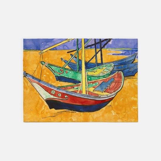 Van Gogh Boats 5'x7'Area Rug