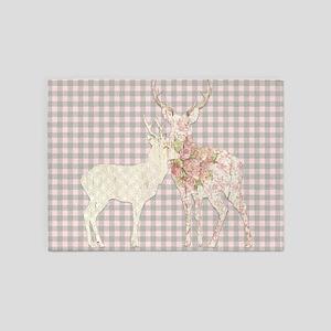 BOHO Lodge Deer Antler Girly Tribal 5'x7'Area Rug
