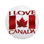 I Love Canada Souvenir Round Ornament