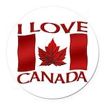 I Love Canada Souvenir Round Car Magnet