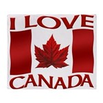 I Love Canada Souvenir Throw Blanket