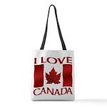 I Love Canada Souvenir Polyester Tote Bag