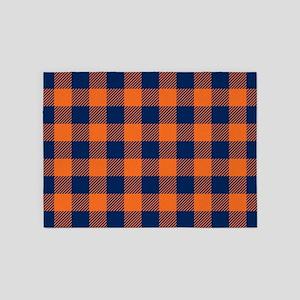 Buffalo Plaid - Navy Blue & Orange 5'x7'Area Rug