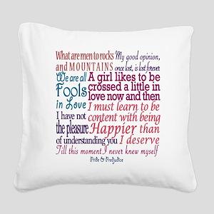 Pride & Prejudice Quotes Square Canvas Pillow