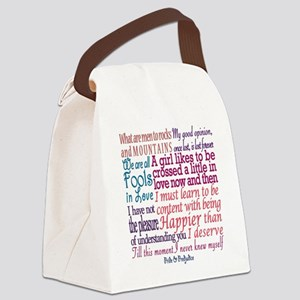 Pride & Prejudice Quotes Canvas Lunch Bag