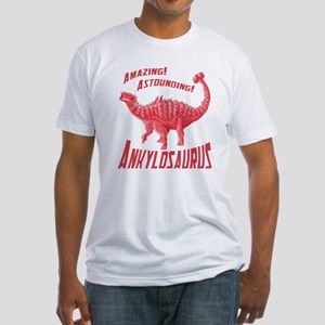 Red Ankylosaurus Fitted T-Shirt