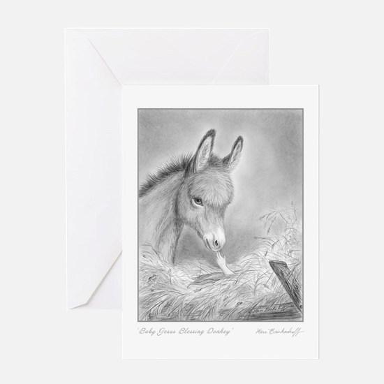 Jesus Blessing Donkey ~ One Holiday Greeting Card