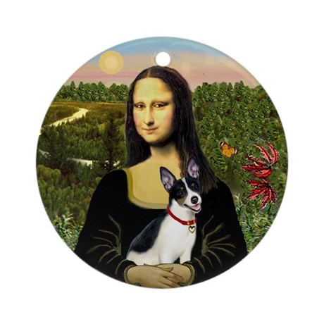 Mona Lisa and Her Rat Terrier Ornament (Round)