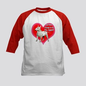 My Heart belongs to my bull terrier Kids Baseball