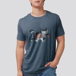 Lead Guitar Cat Mens Tri-blend T-Shirt