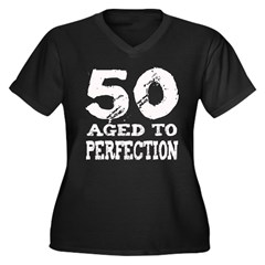 50th Birthday Women's Plus Size V-Neck Dark T-Shir