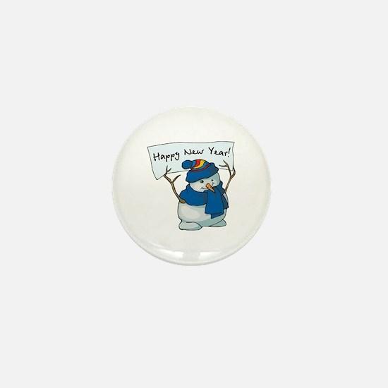Happy New Years Snowman Mini Button