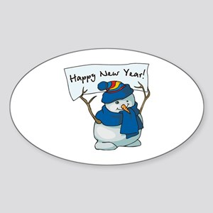 Happy New Years Snowman Sticker (Oval)