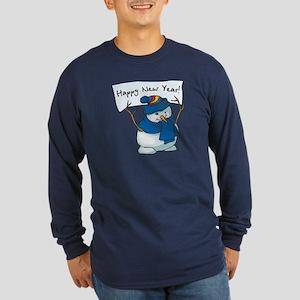 Happy New Years Snowman Long Sleeve Dark T-Shirt