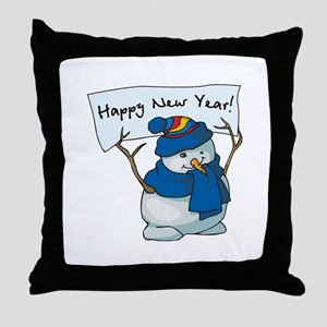 Happy New Years Snowman Throw Pillow