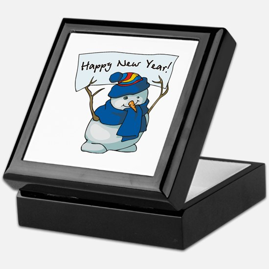 Happy New Years Snowman Keepsake Box