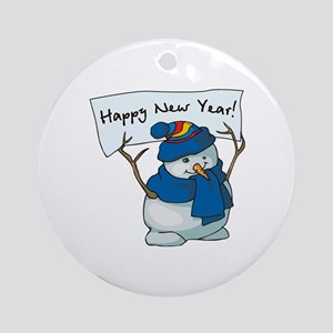 Happy New Years Snowman Ornament (Round)