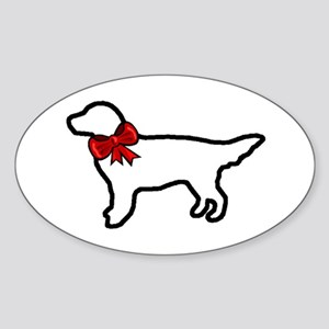 Holiday Golden Retriever Oval Sticker