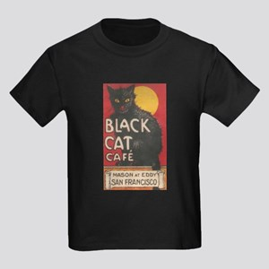 San Francisco Black Cat Cafe Kids Dark T-Shirt