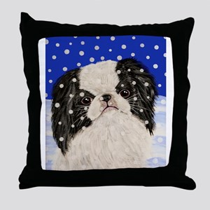 Snowflakes japanese chin Throw Pillow