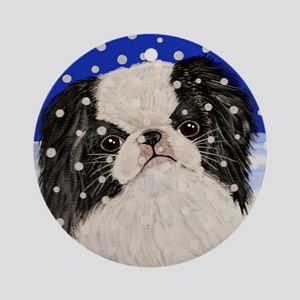 Snowflakes japanese chin Ornament (Round)