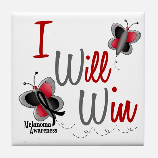I Will Win 1 Butterfly 2 MELANOMA Tile Coaster