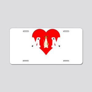 Dog Mom Heart Paw Prints Wh Aluminum License Plate