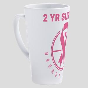 Breast Cancer 2 Year Survivor 17 oz Latte Mug