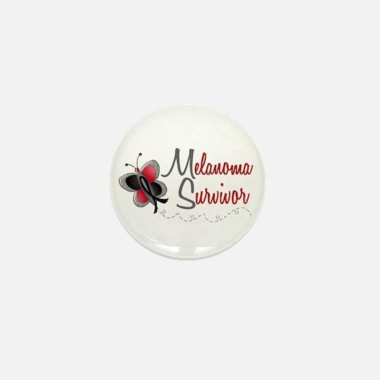 Melanoma Survivor 1 Butterfly 2 Mini Button