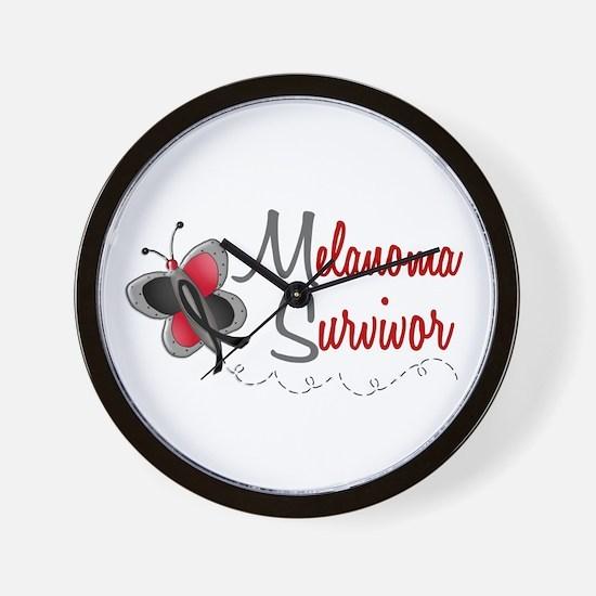 Melanoma Survivor 1 Butterfly 2 Wall Clock