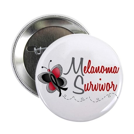 "Melanoma Survivor 1 Butterfly 2 2.25"" Button (100"