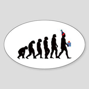 Evolution of Birthday Oval Sticker
