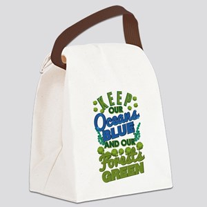 Climate Keep Oceans Blue Forests Canvas Lunch Bag