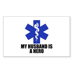 My husband is a hero Rectangle Sticker 10 pk)