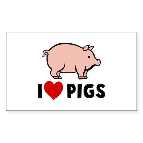 I heart pigs Rectangle Sticker