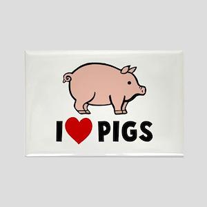 I heart pigs Rectangle Magnet