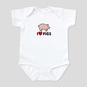 I heart pigs Infant Bodysuit