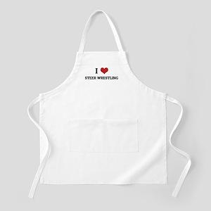 I Love Steer Wrestling BBQ Apron