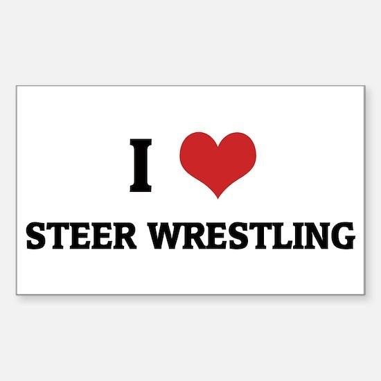 I Love Steer Wrestling Rectangle Decal