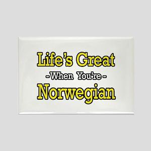 """""""Life's Great..Norwegian"""" Rectangle Magnet"""