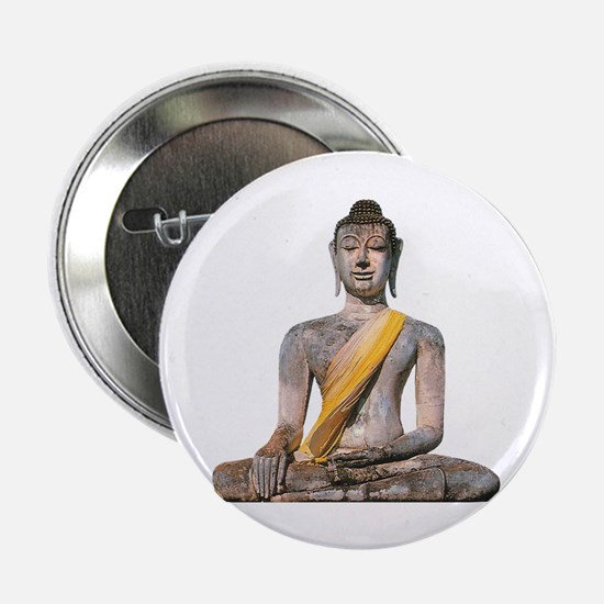 "Meditating Stone Buddha 2.25"" Button"