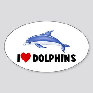 I Heart Dolphins Oval Sticker