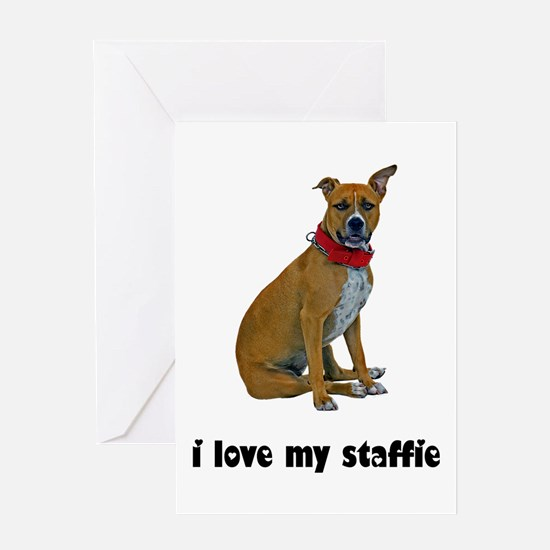 I Love My Staffie Greeting Card